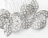 Homemade bridal hair comb. Crystal flower hair comb. Bridal accessories NYC. Couture bridal hair accessories. Handmade bridal jewelry.