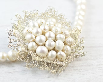 Handmade bridal freshwater pearl necklace with unique hand crocheted silver flower. Natural pearls necklace. Bridal pearl necklace.