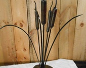 Wrought iron 4 cattails center piece sculpture Hand crafted b y a blacksmith in the Missouri Ozarks USA