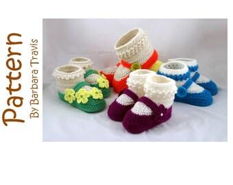 Crochet Pattern Mary Jane Children's Slipper Child's Shoe Sizes 6 through 13