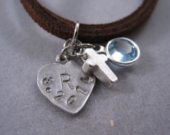 Personalized Cross jewelry, charm suede bracelet, birthstone charm, Bracelet,  confirmation gift, birthday goodie bag