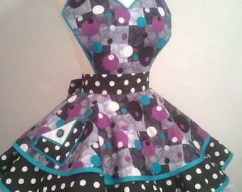 Jane Jetson Pin Up Apron, Teal, Plum and Black Orbs,  Costume Apron, Ready To Ship