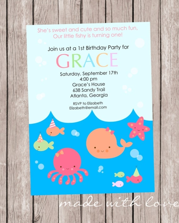 LIttle Fish (GIRL), Birthday Party Invitation, personalized and printable, 5x7