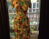 RESERVED. Amazing Abstract Vibrant Novelty Print Skirt and Blouse Set Suit