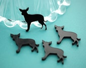 4 Small Black CHIHUAHUA or RAT TERRIER Dog Charm Pendants or Flatback Cabochons, Laser Cut Acrylic kawaii small cute