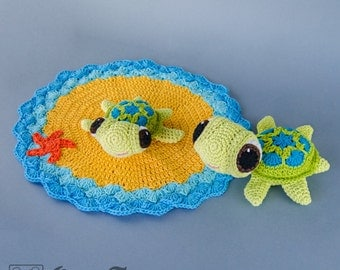 Combo Pack - Bob the Turtle Lovey and Amigurumi Set for 7.99 Dollars - PDF Crochet Pattern - Instant Download - Special Offer Pack
