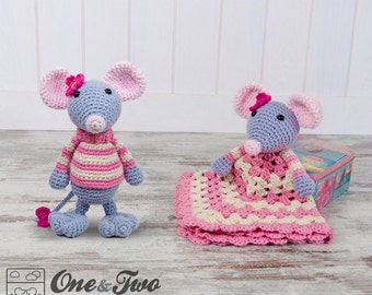 Combo Pack - Emily the Mouse Lovey and Amigurumi Set for 7.99 Dollars - PDF Crochet Pattern - Instant Download - Special Offer Pattern Pack