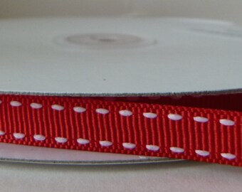Red 10mm Saddle Stitched Grosgrain Ribbon