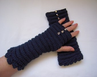 handmade knitted gloves/fingerless gloves with studs /gift idea for her in teal blue women  winter accessories by golden yarn
