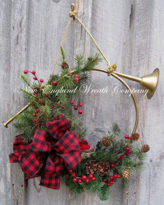 Christmas Wreath Holiday Décor French Horn By NewEnglandWreath
