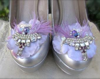 Bridal Shoe Clips Light Lavander vintage inspired.