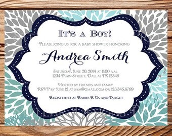 Baby shower invitation, floral baby shower Invitation, boy, girl, baby Shower Invite, blue, pink, gray, 1104