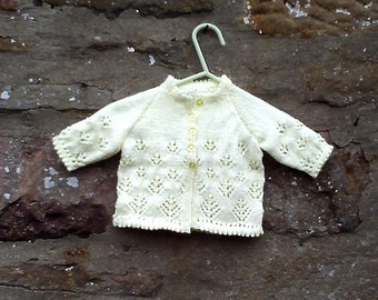 "Hand knitted yellow baby girls cardigan, bonnet,  mitten set . 16"" chest."