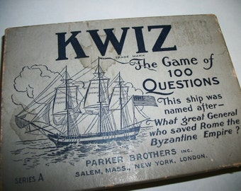 Kwiz,  Vintage Parker Brothers, The game of 100 Questions.