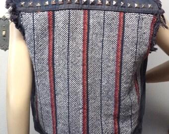 Vintage denim Vest -Studded  ----BAJA Mexican Fabric  ---Size  Small--Med