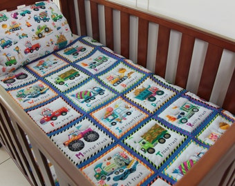 Quilt Baby Keep on Trucking with matching Pillow case
