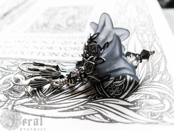 Smoke Blue Fairy Flowers with Victorian Antique Silver Filigree Valentine Gift