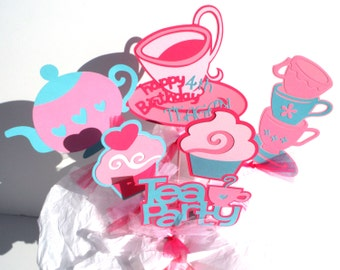 Tea Party Cupcake Themed Centerpiece Stick Set of 6 Personalized With Name & Age