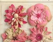 fushia pink vintage paper flowers 1479 -127 (4 pcs) wedding invitation embellishment paper crafting flowers scrapbooking wild blossoms
