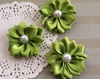 """Small Apple Green Fabric Flowers (6 ct) 1.5"""" Satin ribbon flowers with pearl centers flower embellishmentk Sweetheart accent flower applique"""