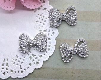 "Crystal Rhinestone Bow  (3 pc set) 1"" rhinestone bow flat back or with brooch pin -  button flower embellishment"