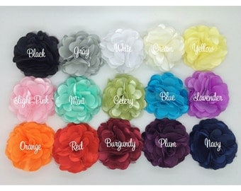 Satin Mesh Fabric Flowers 3'' inch  layered silk and mesh tulle fabric flower - you pick colors - bridesmaids flowers  wholesale flowers