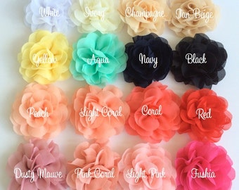 "Soft Chiffon Rose Petal Flowers (2 pieces) 3"" Fabric flower YOU PICK COLORS Wholesale Flowers - Soft Petal Rose Flowers Chiffon Sara Flower"