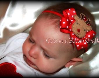 Baby Christmas Headband , Adorable reindeer Headband Hair Bow Headband Perfect For Baby's First Christmas