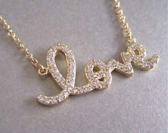 Love CZ Necklace - Love Necklace - Diamond Necklace
