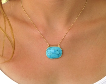 Turquoise Pendant Necklace - Gold Necklace - Pendant Necklace - Turquoise Necklace