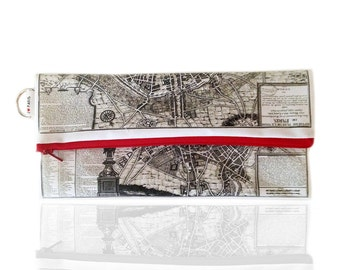 Paris ancient map Fold over clutch, women hand bag, zipper pouch, clutch wallet, printed with the map of ancient Paris