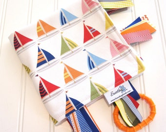 Sensory Ribbon Blanket,Lovey,Tag Blanket/Sailboats in Sailor/Organic Cotton Fleece