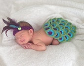 Peacock Newborn Baby Girl Cape and Headband Set Photography Photo Prop in PURPLE