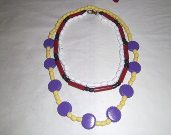 Lulu's  Red And Black Necklace