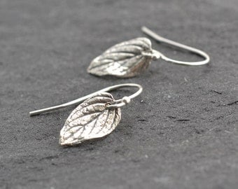 Tiny Earrings, Silver Leaf Earrings, Gold Leaf Earrings, Tiny Silver Earrings, Silver Leaves, Botanical Jewelry, Rustic Earrings