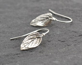 Tiny Earrings, Silver Leaf Earrings, Tiny Silver Earrings, Silver Leaves, Botanical Jewelry, Rustic Earrings, Everyday Earrings