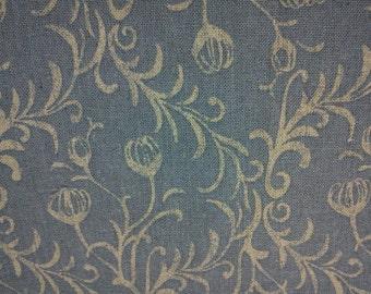Floral in linen natural, washed blue, fat quarter, cotton linen blended fabric