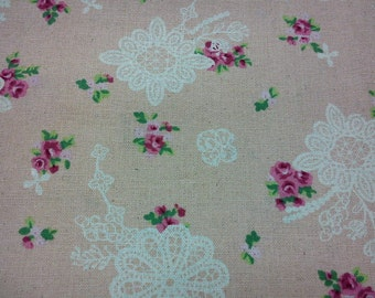 SALE - Crochet and roses, 1/2 yard, pure cotton fabric