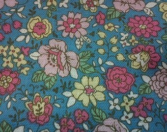 Pink floral, turquoise, fat quarter, pure cotton fabric