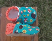 Baby Shoes for Girls or Boys - Teal Mushroom and Hedgehog Fabric with Orange Twigs - Custom Sizes 0-24 months 2T-4T