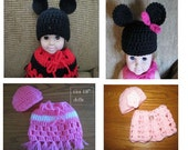 """FIVE Doll Clothes Crochet PATTERNS  Instant Download PDF  Mouse Ears , Flower, Newsboy Hats, Poncho  & Capelet fit 18"""" Doll or American Girl"""