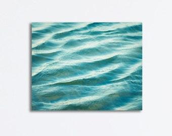 "Ocean Canvas Wrap - large water ripples blue sea beach wall art nautical photography modern gallery seashore decor teal aqua, ""Wash Over Me"""