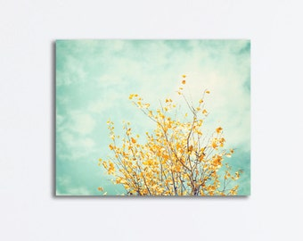 """Nature Canvas Art - mint green yellow turquoise light blue tree branch pastel wall art large photography gallery, """"Gentle Whisper"""""""