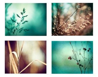 Teal Brown Photo Set, 4 turquoise aqua blue dark beige nature photography botanical photographs branches wall decor modern prints branch art