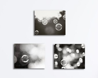 Black and White Canvas Set - bubble three photography bathroom prints laundry room wall art dark grey gray photos gallery wrapped canvases