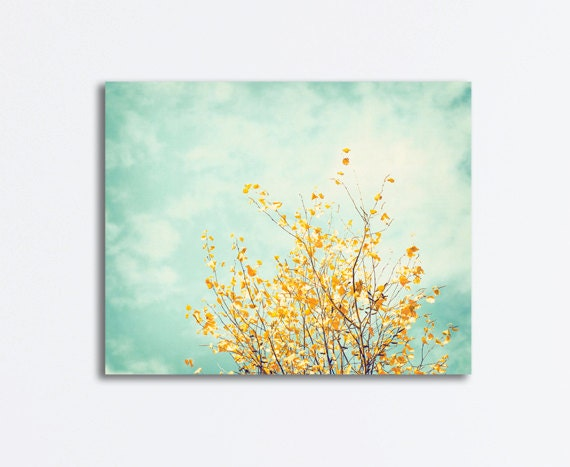 Nature Canvas Art Mint Green Yellow Turquoise Light Blue