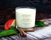Organic Candle RED APPLE & Cinnamon LEAF Coconut Wax Massage Candles Essential Oils 10 oz