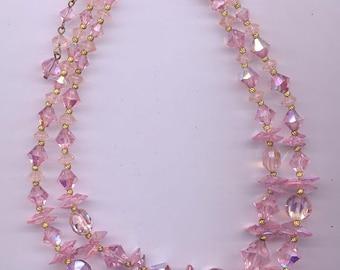 Sparkling vintage 2-strand crystal necklace - an array of vintage Swarovski crystals, all in light rose AB