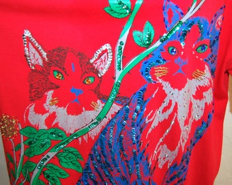 Kitschy Cool Vintage 80s Embellished Cats Oversized T Shirt