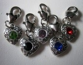 5 Mixed Color Rhinestone Heart Clip on Charms  (1235)